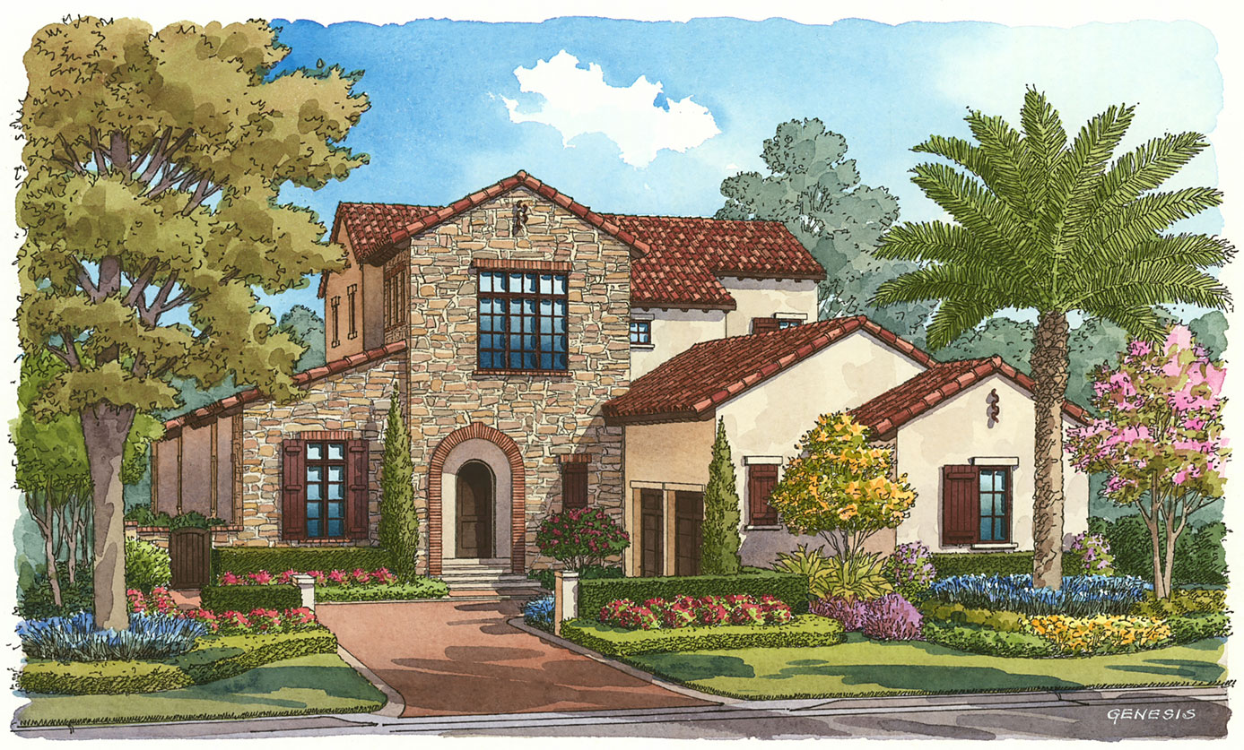 Goehring & Morgan Construction, Orlando, FL for Golden Oak - Ink and Watercolor