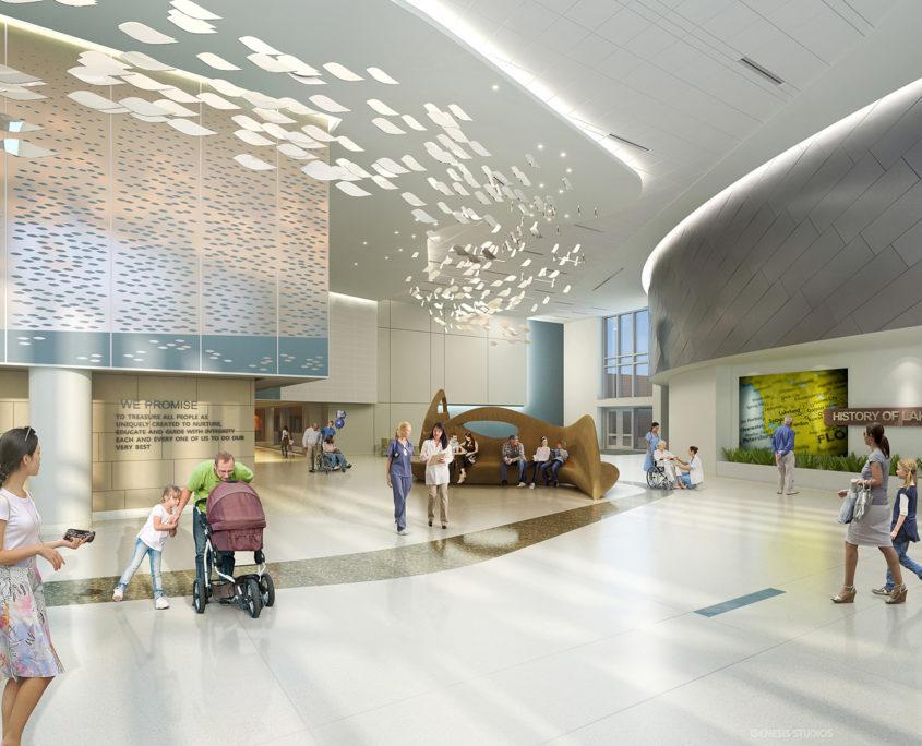 Interior Digital Architectural Renderings of Lakeland Regional Medical Center by Hunton Brady Architects