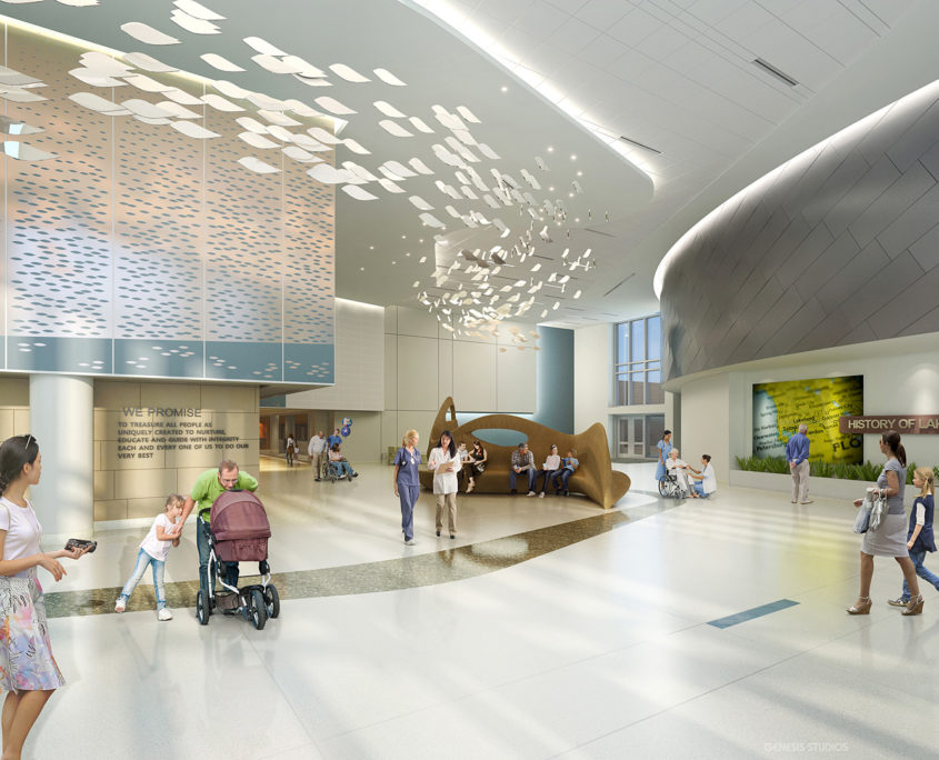 Interior Digital Architectural Renderings of Lakeland Regional Medical Center by Hunton Brady Architects