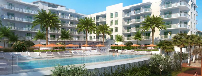 Digital Renderings of Pool at Edgewater Resort at Treasure Island by Curt Gains Hall Jones Architects