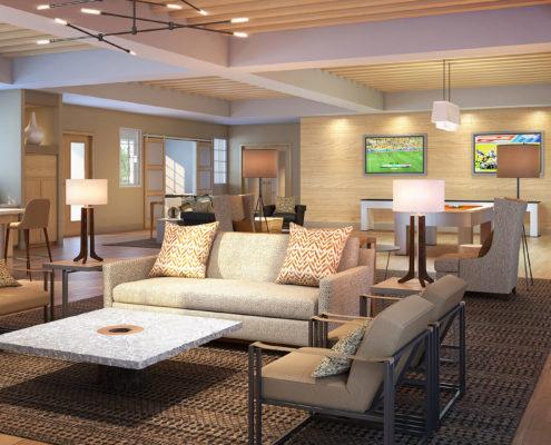 717034 Digital Photorealistic Architectural Renderings of Monterrey Village II Lounge for MSA Interiors