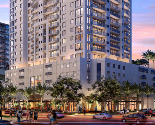 717186 - Digital Photorealistic Architectural Renderings of Halcyon at Dusk for Curt Gaines Hall Jones Architects