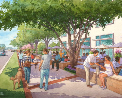 Watercolor Rendering of Tampa General Hospital Outdoor Seating Area for HKS Architects
