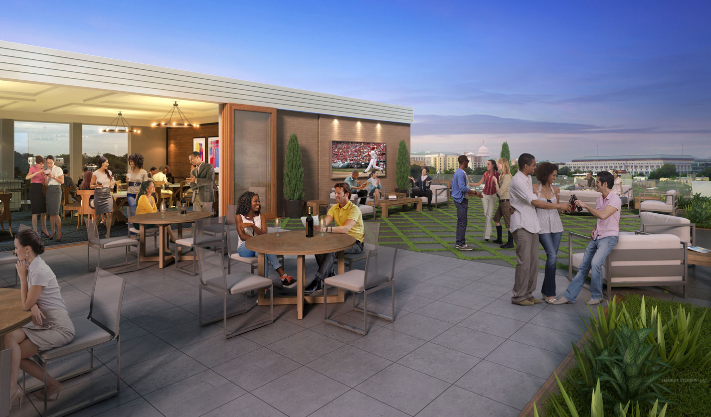 515067 Digital Architectural Renderings of 609 H Street Rooftop for The Eisen Group