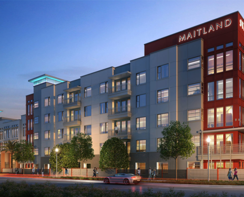 515095 Digital Photorealistic Architectural Renderings of Maitland Station Exterior at Dusk for Charlan Brock Associates