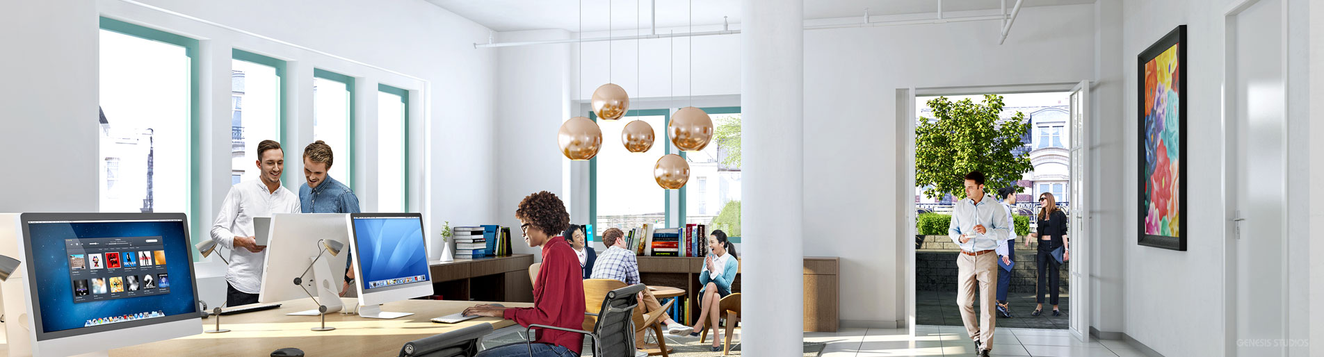 515119 Digital Architectural Rendering of Office Interior for L & L Holding