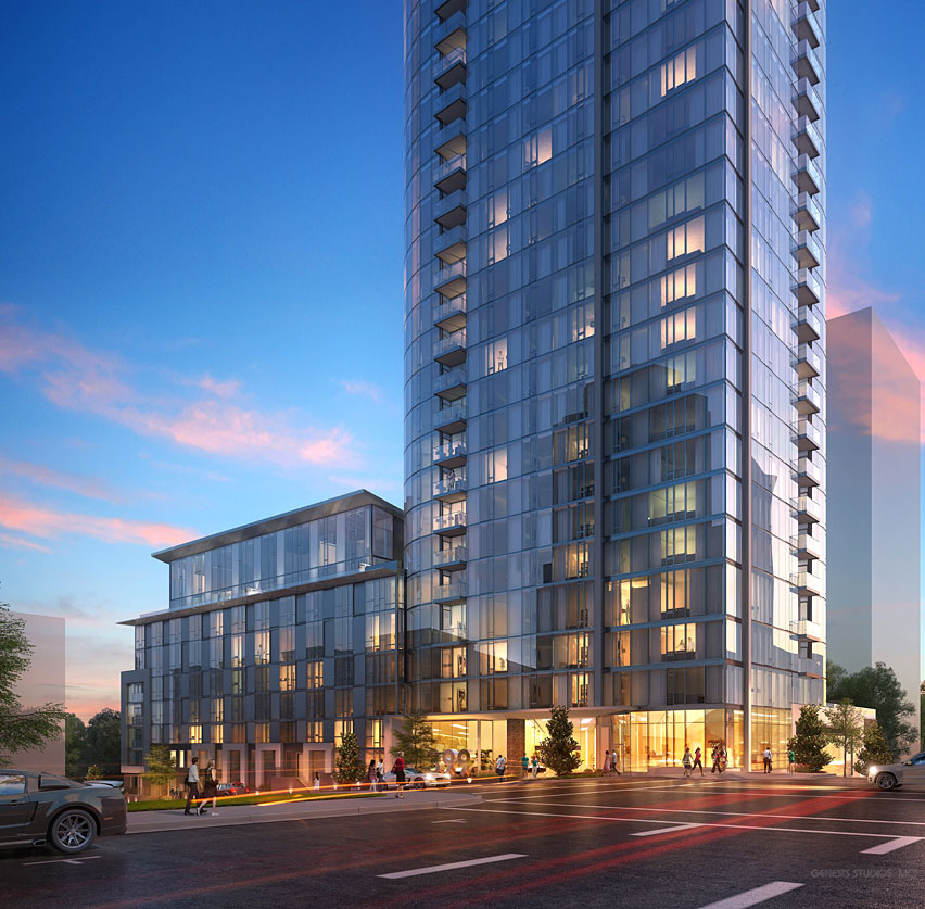 515165 Digital Photorealistic Architectural Renderings of 399 Freemont Building from an Exterior Eye Level at Dusk for UDR