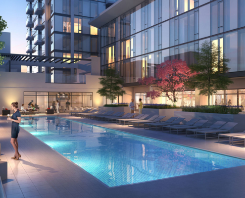 515165 Digital Photorealistic Architectural Renderings of 399 Freemont Pool at Dusk for UDR