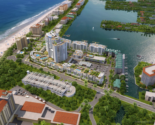 717025 Digital Photorealistic Architectural Renderings of Vanderbilt Beach from an Aerial View for Stock Development