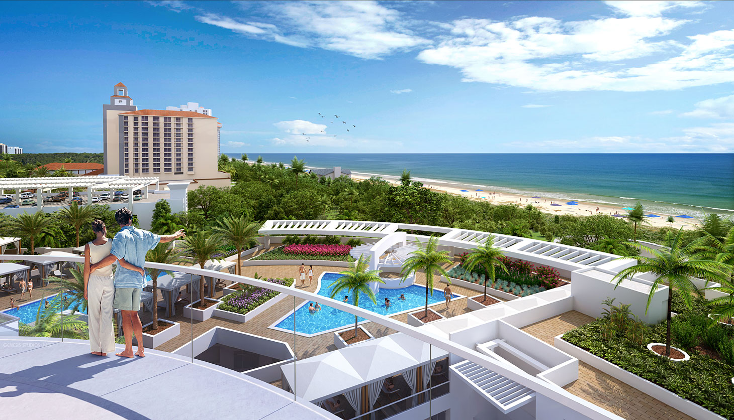 Digital Photorealistic Architectural Renderings of Vanderbilt Beach Balcony View for Stock Development