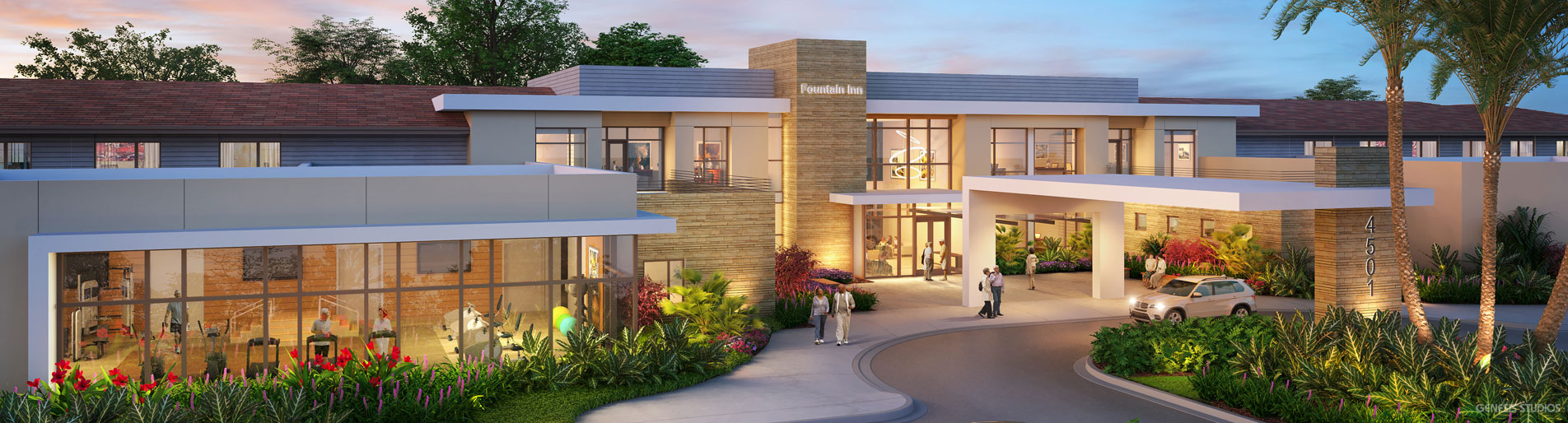 717037 Digital Photorealistic Archtiectural Rendering of Fountain Inn Exterior at Dusk for Lantz Boggio Architects