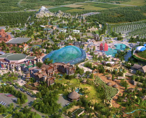 Digital Photorealistic Architectural Renderings of Zhengzhou Zoo from an Aerial View