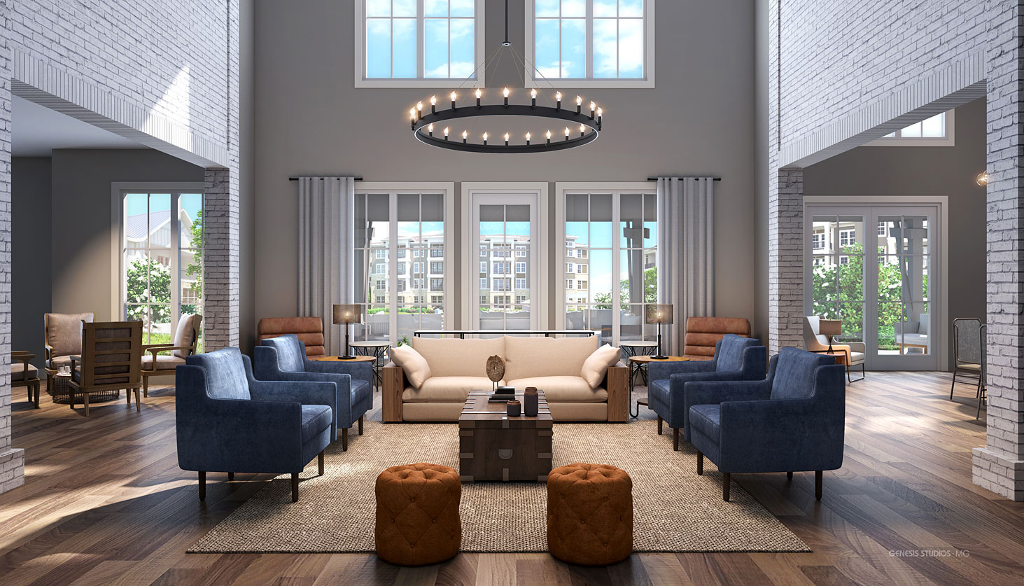 Digital Photorealistic Architectural Renderings of Round Rock Multi Family Housing Clubhouse for LIV Development