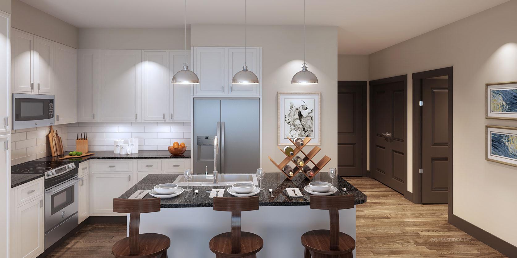 3D Multi-Family Home Interior Renderings of Round Rock Kitchen for LIV Development