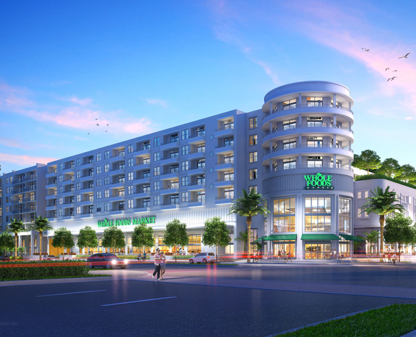 Digital Architectural Renderings of Whole Foods Retail Building at Dusk for RAM Realty Services