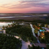 Digital Architectural Renderings of Bacalar Beach Resort at Dusk from an Aerial View for CallisonRTKL