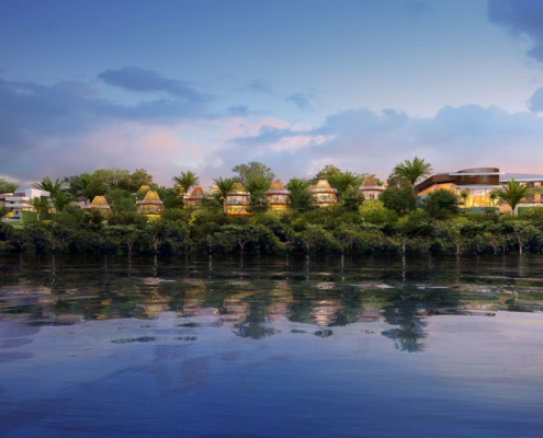 Digital Architectural Renderings of Bacalar Beach Resort at Dusk CallisonRTKL
