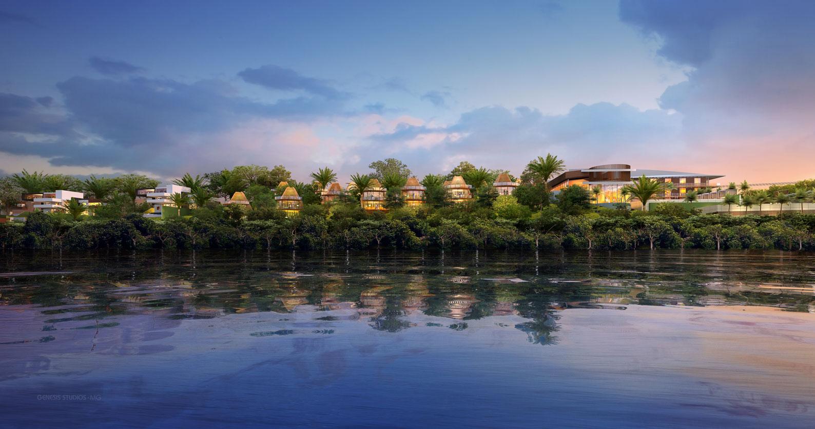 Digital Architectural Renderings of Bacalar Beach Resort at Dusk CallisonRTKL