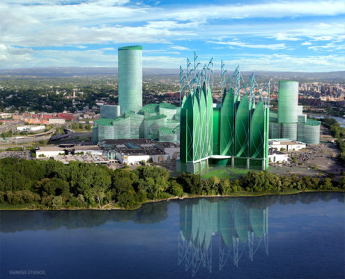 Conceptual Digital Architectural Renderings of Destiny USA Mall Hotel from a Lakefront View for Destiny Pyramid Group