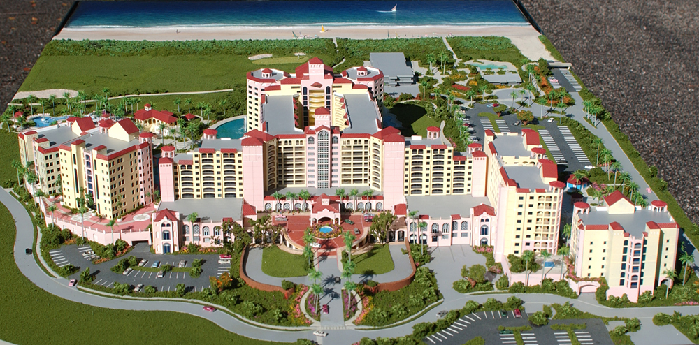 Architectural Scale Model of Hammock Beach Resort from an Aerial View of the Beach