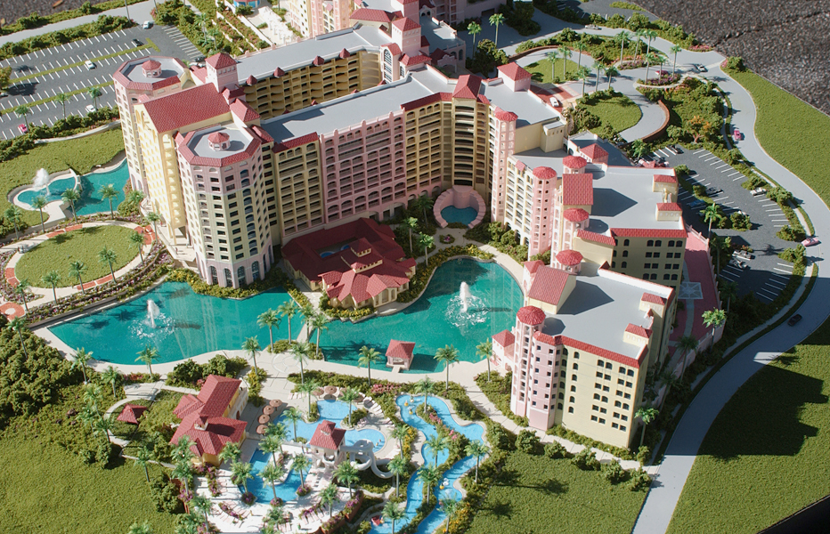 Architectural Scale Model of Hammock Beach Resort with an Aerial View of the Pool