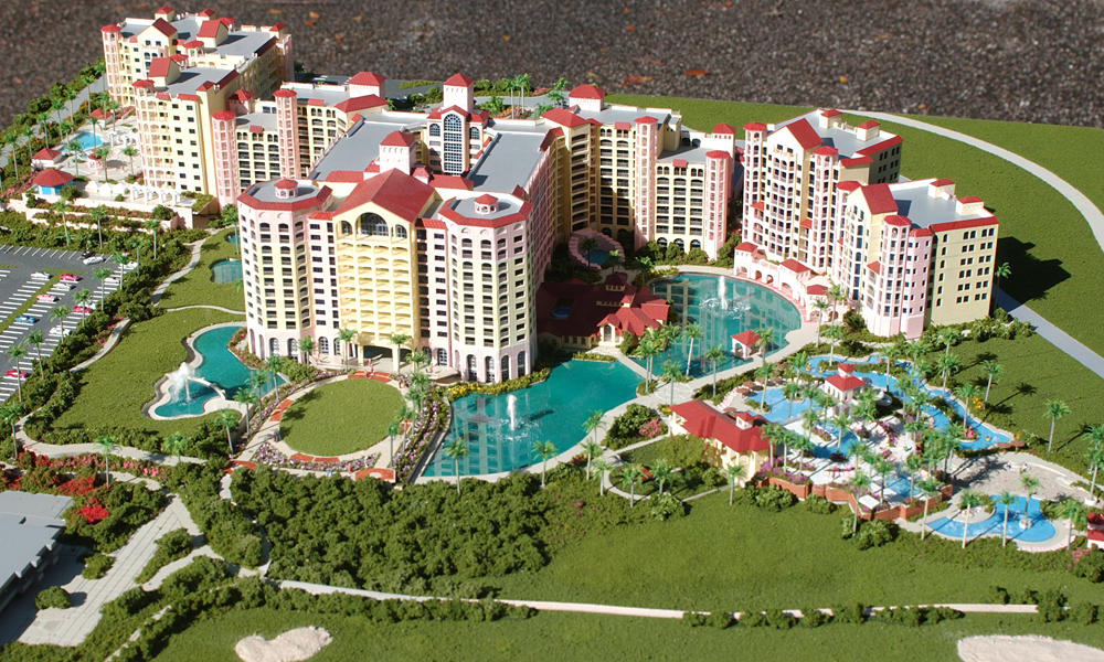 Architectural Scale Model of Hammock Beach Resort from a Low Aerial View