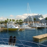 111036 Digital Photorealistic Architectural Rendering of Harbor Isle Boat Docks for Minto Communities