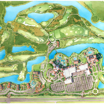 Watercolor Site Plan of Grand Lakes Resort for Marriott Vacation Club