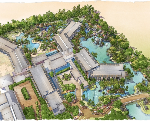 Digital Watercolor Architectural Rendering of Universal Hotel from Aerial View for EDSA