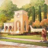 414129- Digital Watercolor Architectural Rendering of Tamaya Entry for Ervin Lovett Miller
