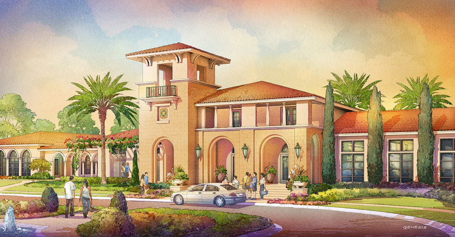 414129- Digital Watercolor Architectural Rendering of Tamaya Front Entrance for Ervin Lovett Miller