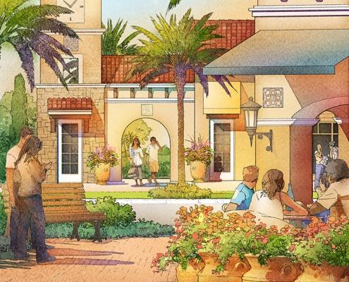 414129- Digital Watercolor Architectural Rendering of Tamaya Plaza for Ervin Lovett Miller