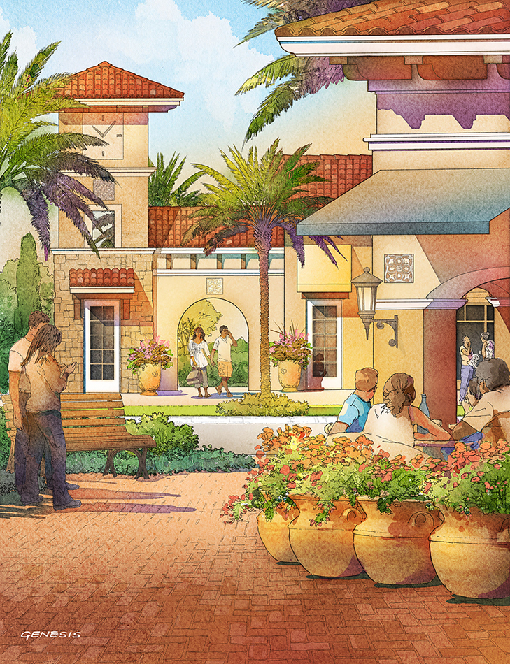 414129- Digital Watercolor Architectural Rendering of Tamaya Plaza for Ervin Lovett Miller