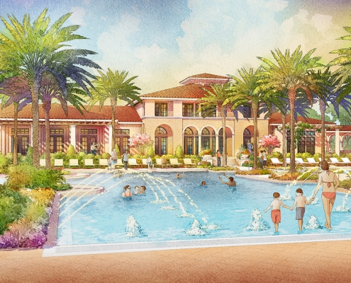 414129- Digital Watercolor Architectural Rendering of Tamaya Pool for Ervin Lovett Miller