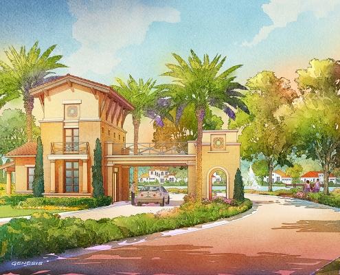 414129- Digital Watercolor Architectural Rendering of Tamaya Guard House for Ervin Lovett Miller