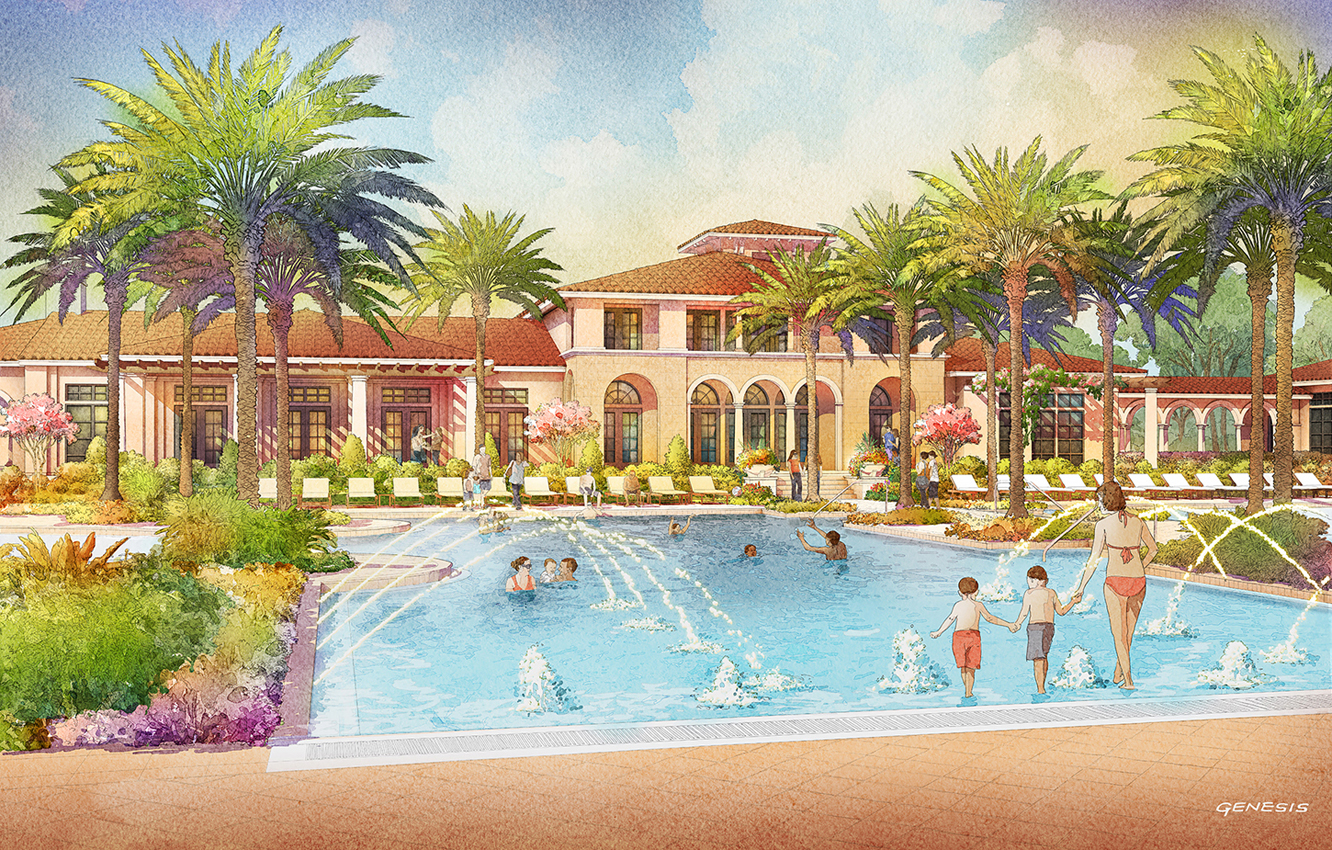 414129- Digital Watercolor Architectural Rendering of Tamaya Pool for Ervin Lovett Miller