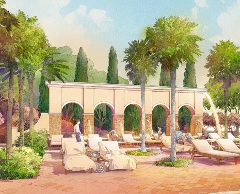 414129- Digital Watercolor Architectural Rendering of Tamaya Pool Deck for Ervin Lovett Miller