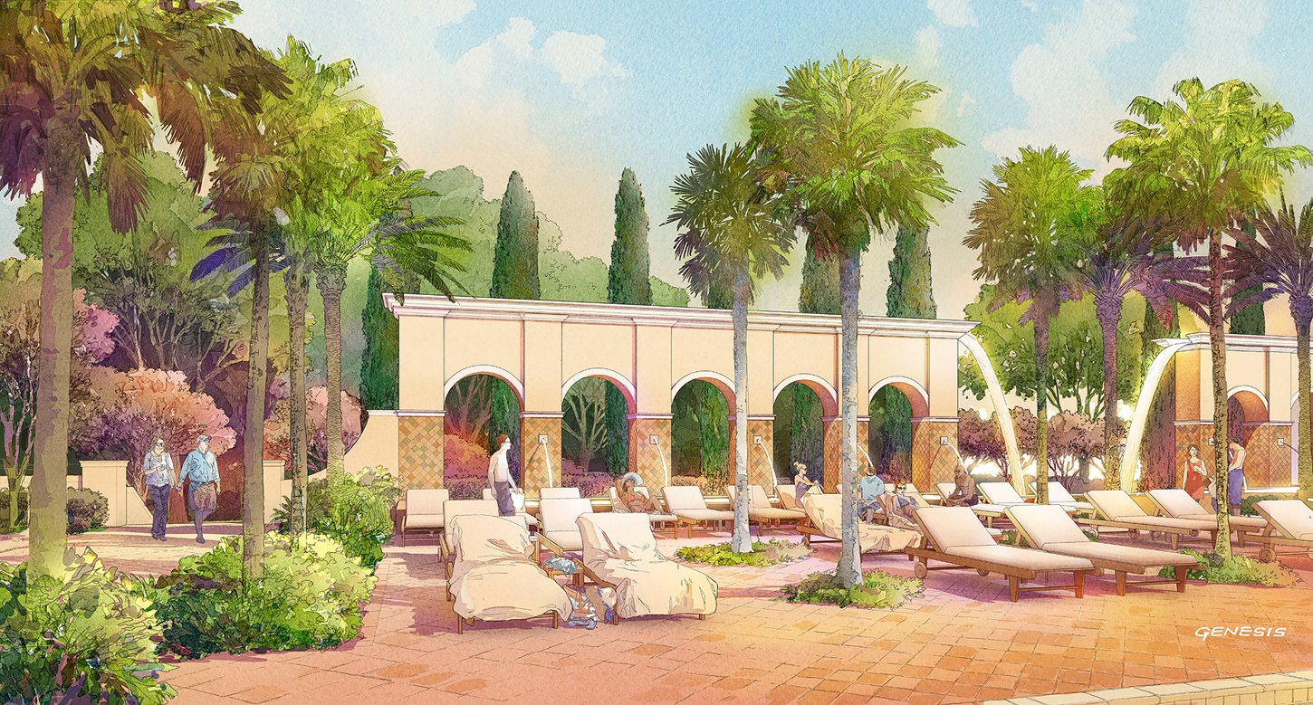 414129- Digital Watercolor Architectural Rendering of Tamaya Pool Deck for Ervin Lovett Miller