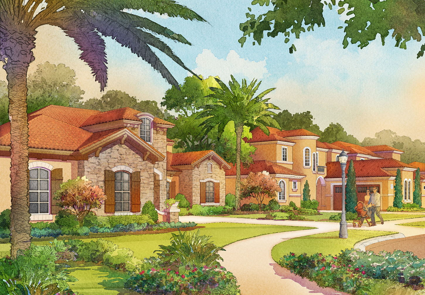 Digital Watercolor Architectural Rendering of Tamaya Sidewalk for Ervin Lovett Miller