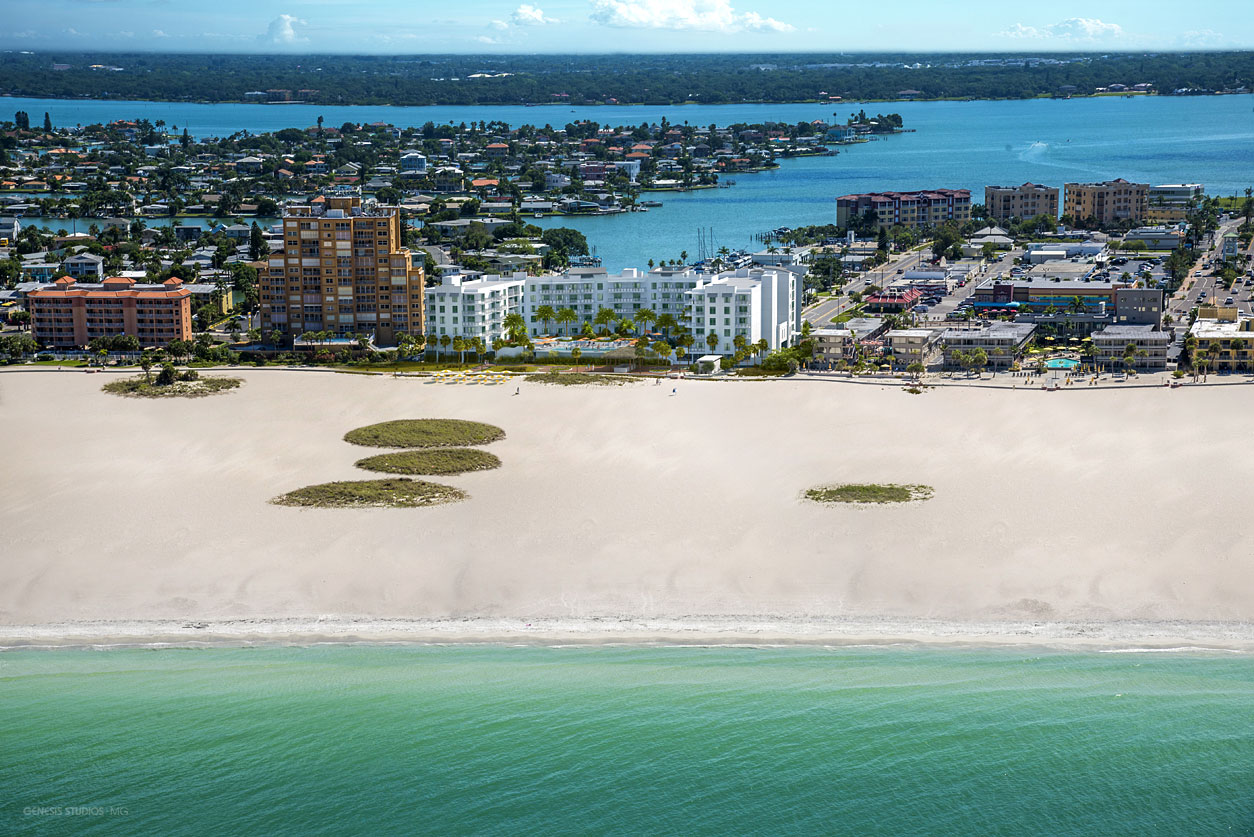515036 Digital Photorealistic Architectural Renderings of Treasure Island Beach Resort from an Aerial View of the Beach for Curt Gaines Hall Jones Architects