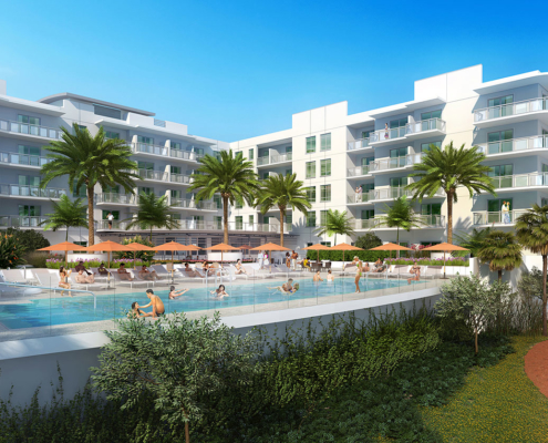 515036 Digital Photorealistic Architectural Renderings of Treasure Island Beach Resort for Curt Gaines Hall Jones Architects