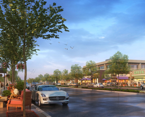 515049 Digital Photorealistic Architectural Renderings of Moorefield Sidewalk for The Eisen Group