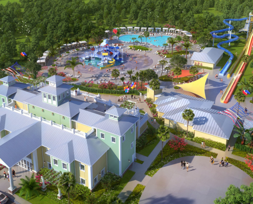 515052 Digital Photorealistic Architectural Rendering of Encore Water Park from an Aerial View for City Homes