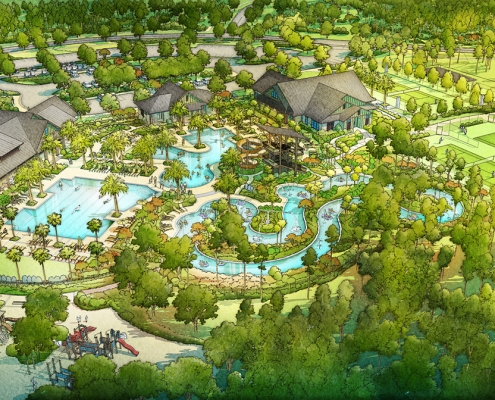 515056 Digital Watercolor Architectural Renderings of Shearwater from an Aerial View for Freehold Capital Services