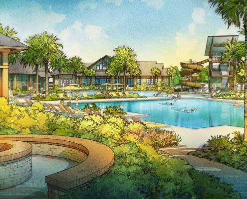 515056 Digital Watercolor Architectural Renderings of Shearwater Fitness Lodge for Freehold Capital Services