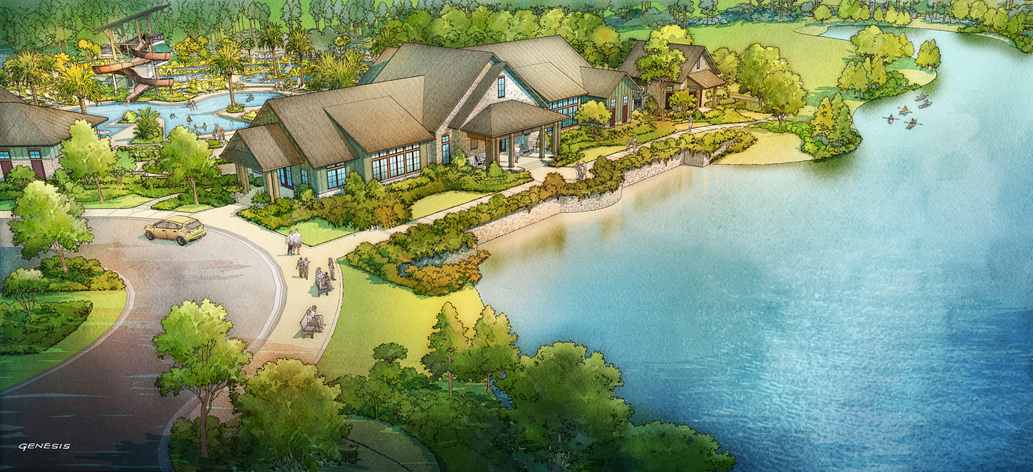515056 Digital Watercolor Architectural Renderings of Shearwater Kayak Club for Freehold Capital Services