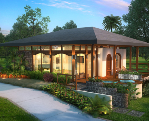515066 Digital Photorealistic Architectural Rendering of Vacation Village Villa Driveway for Costa Rica Land Capital Partners