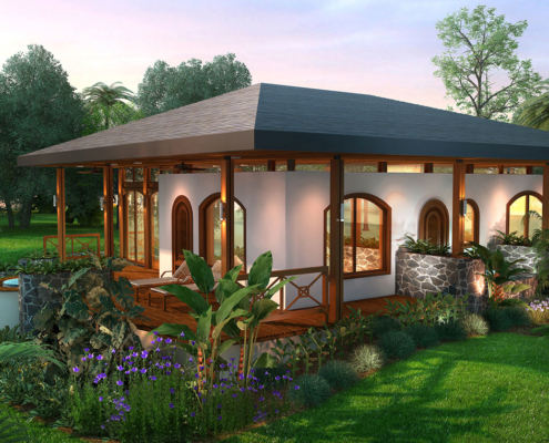 515066 Digital Photorealistic Architectural Rendering of Vacation Village Villa Backyard for Costa Rica Land Capital Partners