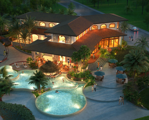 515066 Digital Photorealistic Architectural Rendering of Vacation Village Clubhouse for Costa Rica Land Capital Partners