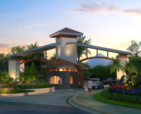 515066 Digital Photorealistic Architectural Rendering of Vacation Village Entry for Costa Rica Land Capital Partners